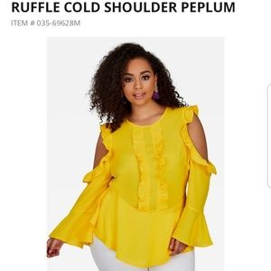 Ashley Stewart Ruffle Cold Shoulder Top